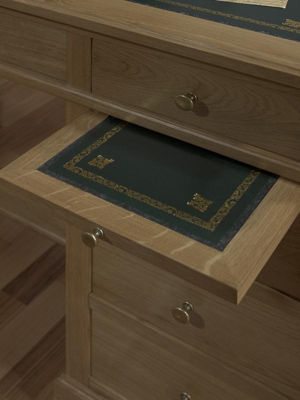 Mesa oficina escritorio con 5 cajones realizada en roble for Mesa escritorio con cajones