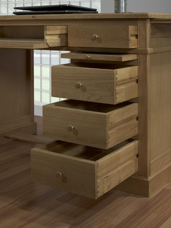 Mesa oficina escritorio con 5 cajones realizada en roble macizo estilo louis philippe meuble - Mesa escritorio con cajones ...