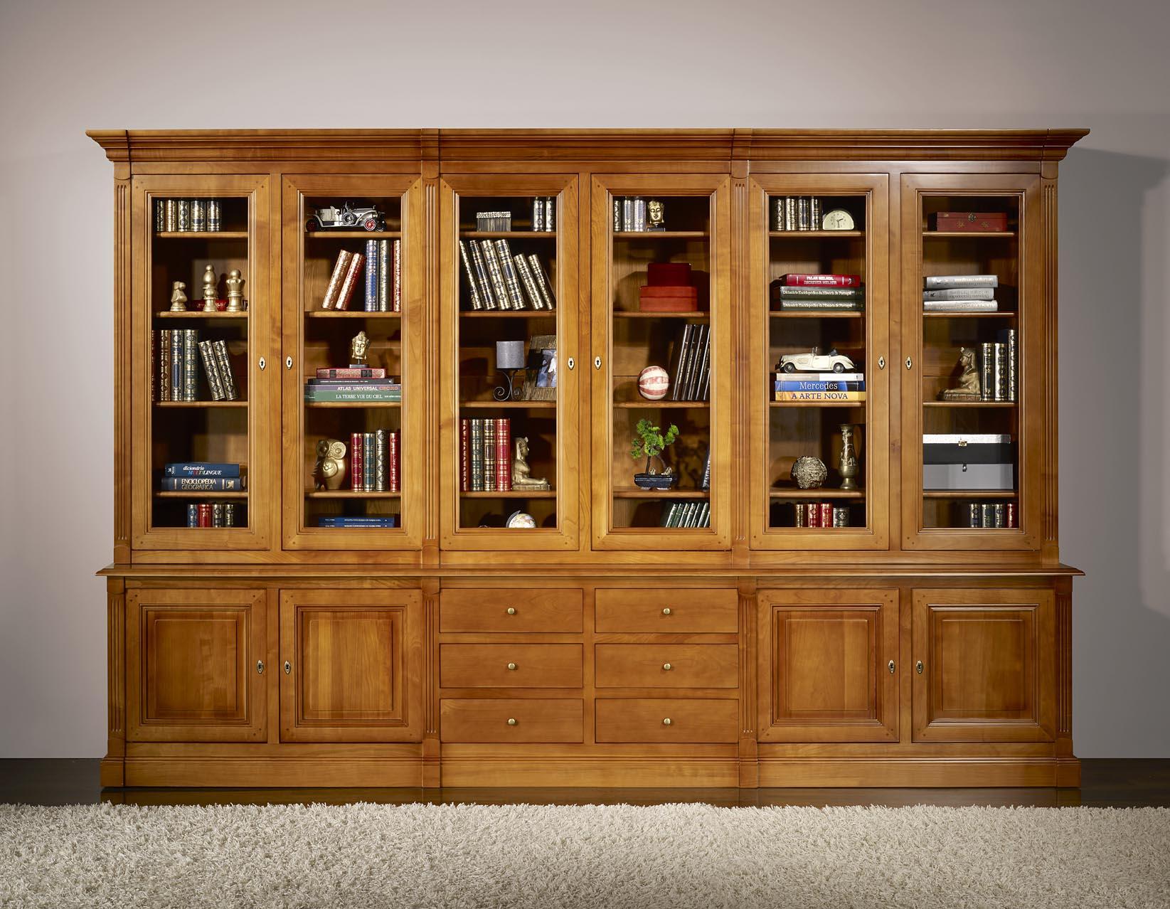 biblioteca 2 cuerpos 6 puertas sabine hecha en madera de cerezo macizo estilo directorio. Black Bedroom Furniture Sets. Home Design Ideas