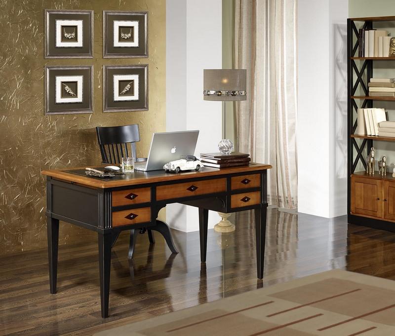 Mesa escritorio mathilde con 5 cajones hecha de cerezo for Mesa escritorio con cajones