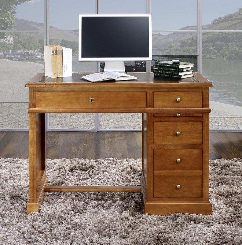 Mesa oficina escritorio lucie hecho en cerezo macizo - Mesa escritorio negra ...