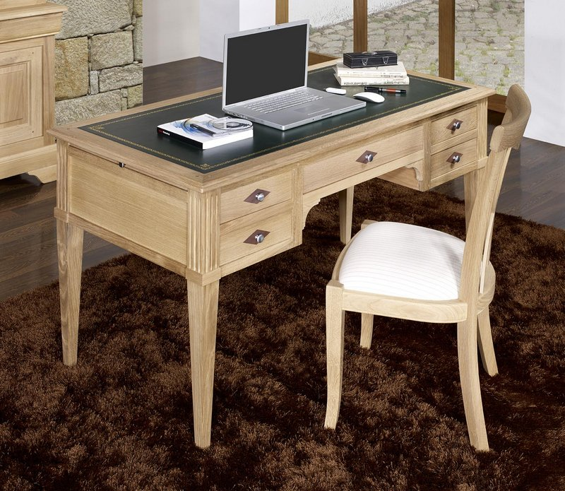 Mesa escritorio 5 cajones juan carlos hecha en roble for Mesa escritorio con cajones