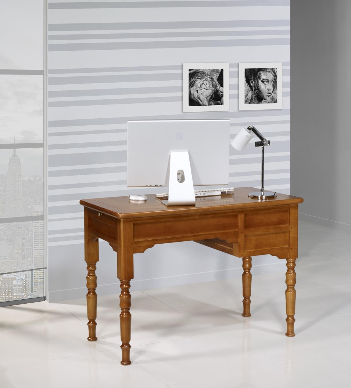 Mesa escritorio r my en madera maciza de cerezo estilo - Mesa escritorio madera ...