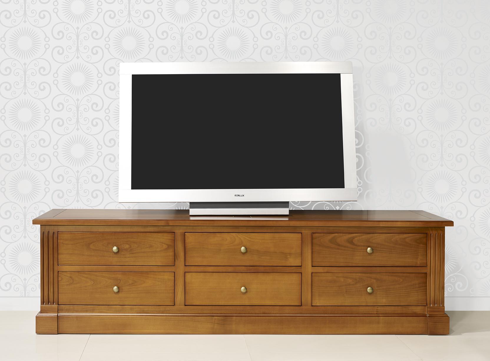 Mueble De Tv 16 9 Luciano Hecha En Cerezo Macizo Estilo Directorio  # Muebles Luciano