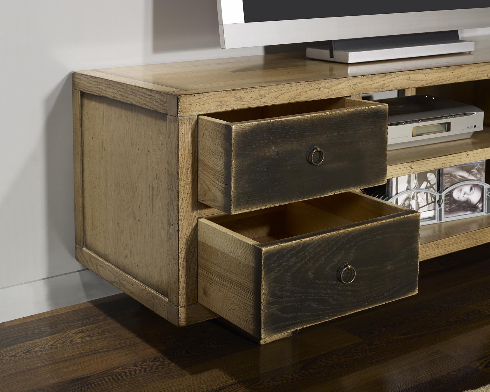 Mueble televisi n y hi fi con 4 cajones hecho en madera de - Muebles de madera de roble ...