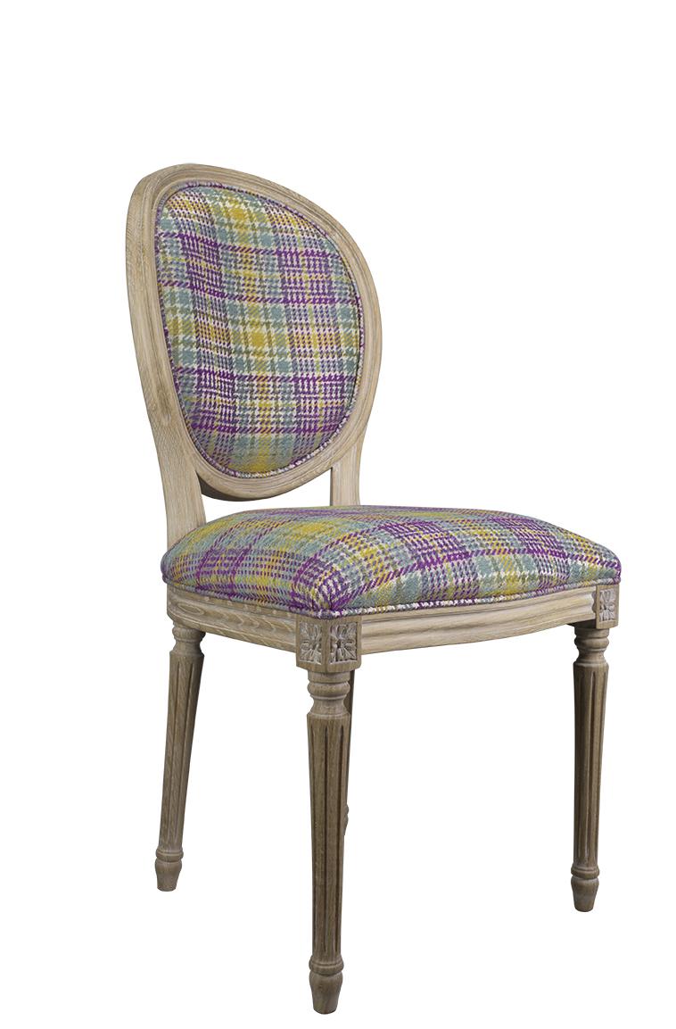 Simon silla de madera de roble s lido estilo luis xvi acabado cepillado asiento tela lin - Sillas estilo luis xvi ...