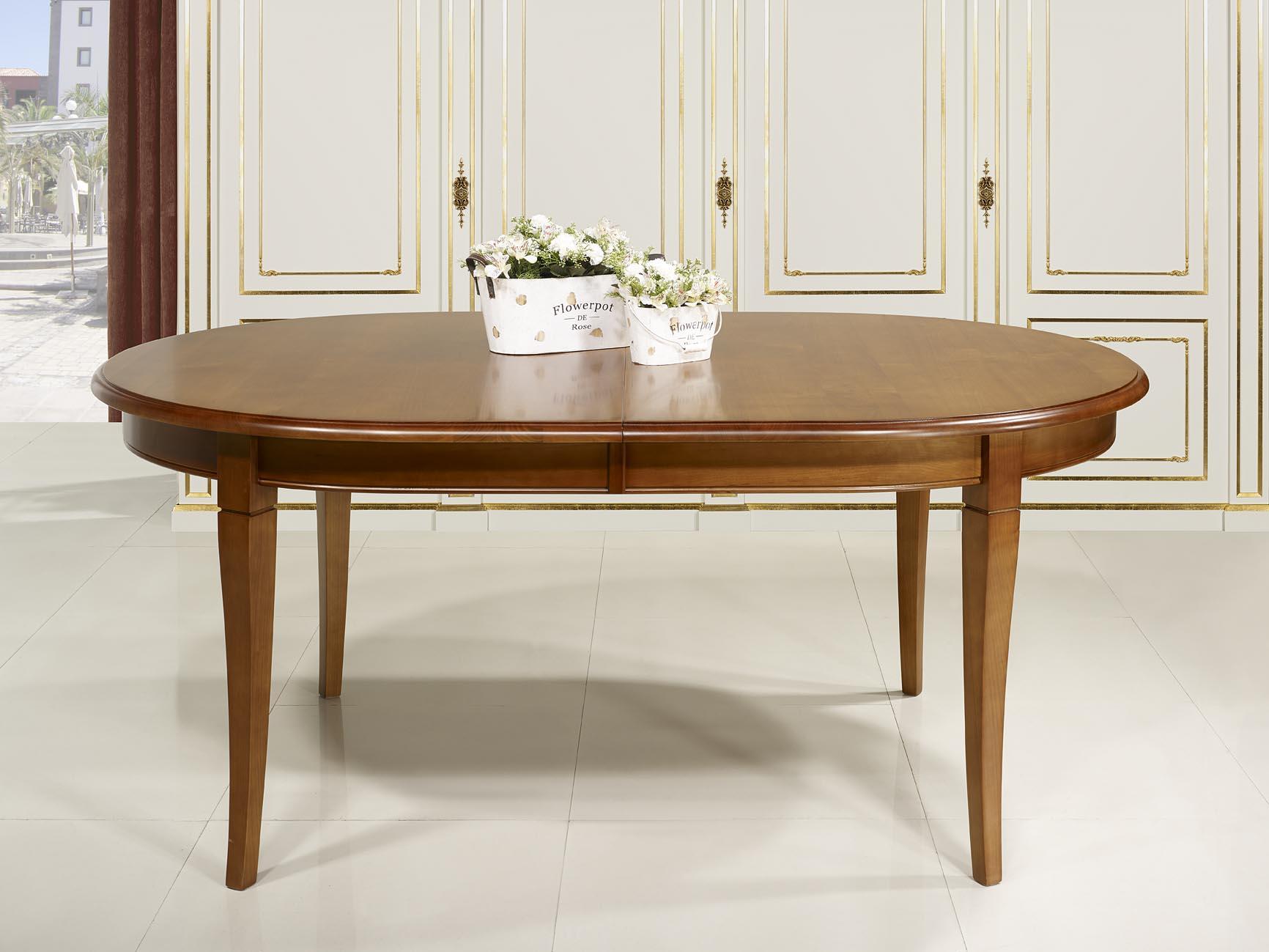 Mesa de comedor ovalada julie hecha en madera maciza de for Mesa comedor cerezo