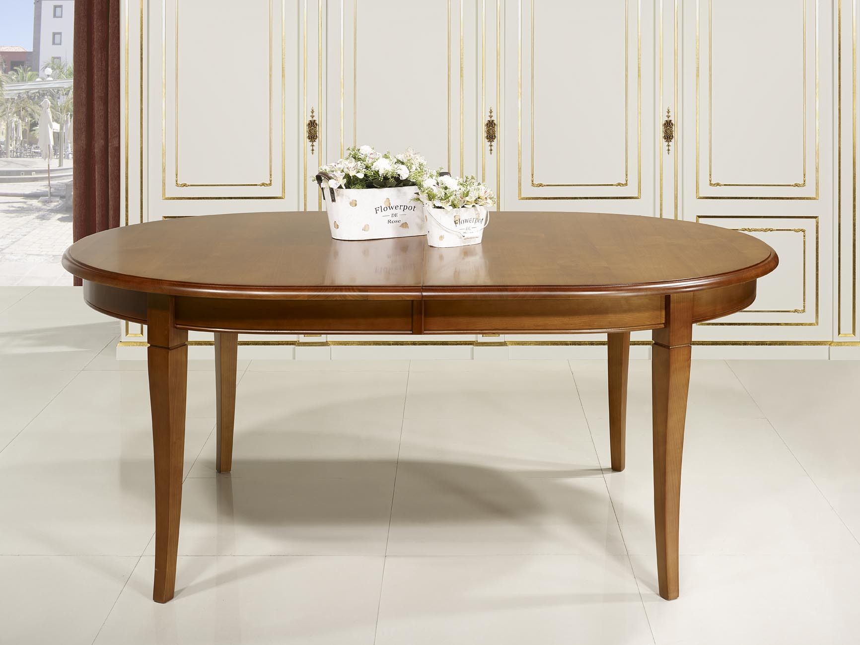 Mesa de comedor ovalada julie hecha en madera maciza de for Mesa comedor ovalada