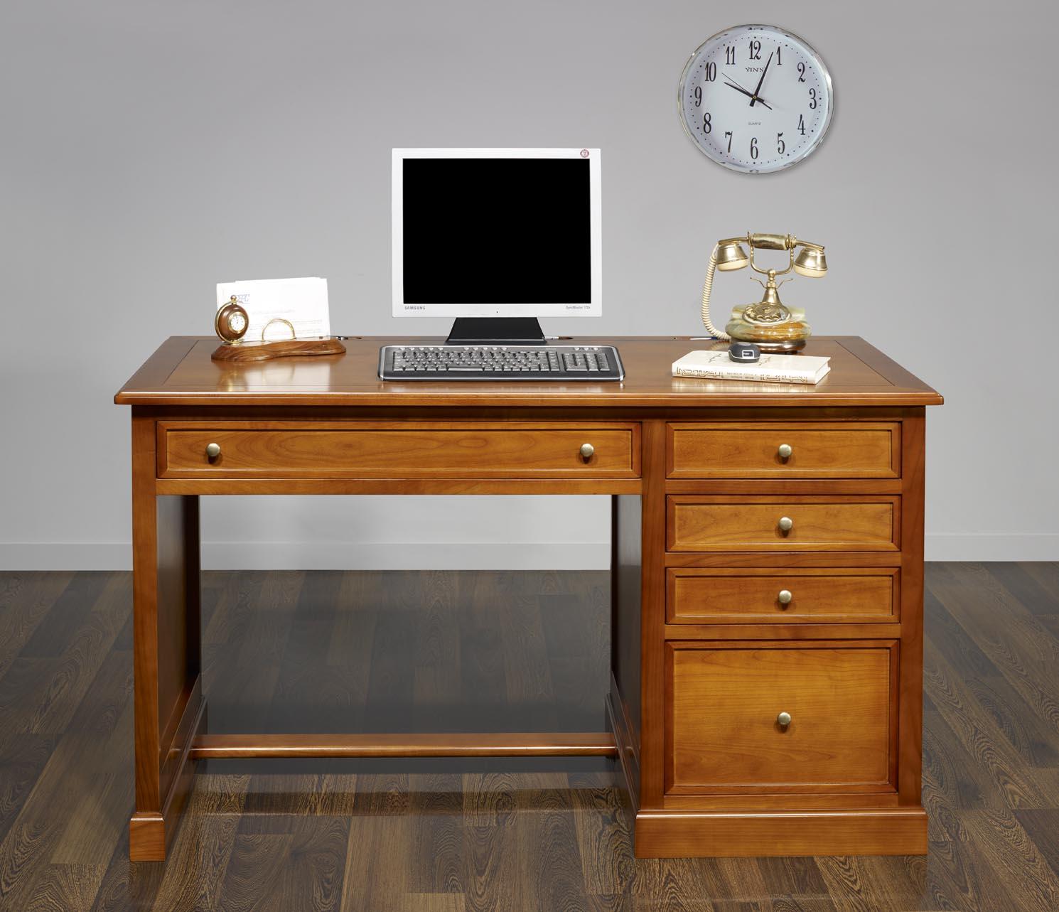 Mesa oficina escritorio jeanne con 5 cajones hecho de for Mesa escritorio con cajones