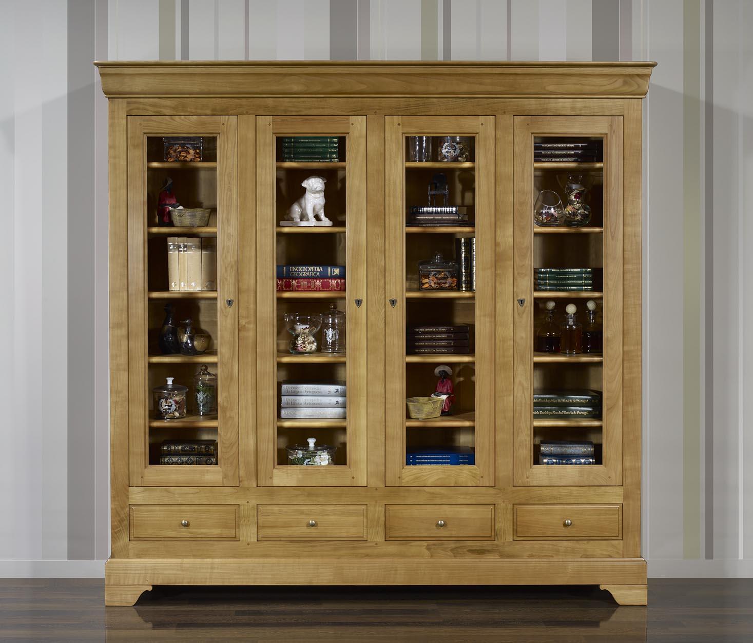 Biblioteca 4 puertas eliot hecho de madera maciza de for Bibliotecas muebles