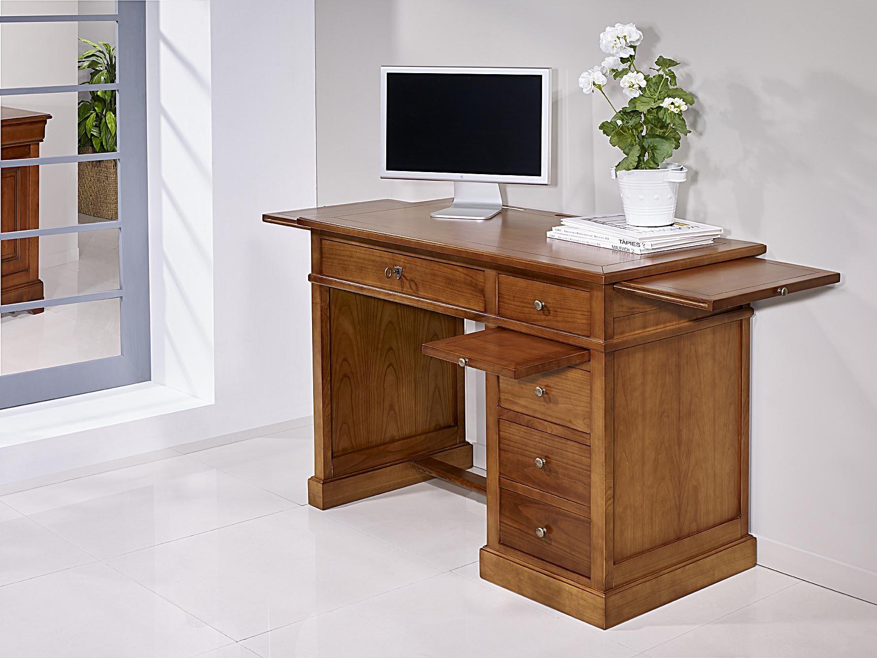 Mesa oficina escritorio lucie con 4 cajones realizada en cerezo macizo estilo louis philippe - Mesa escritorio con cajones ...