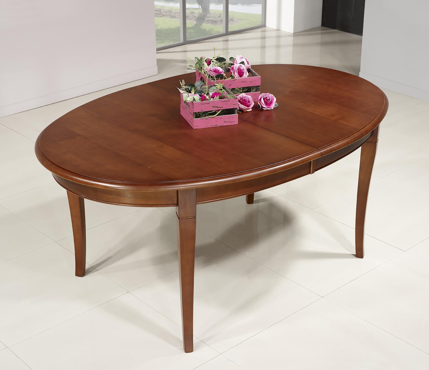 Mesa de comedor ovalada Estelle hecha en madera maciza de cerezo ...