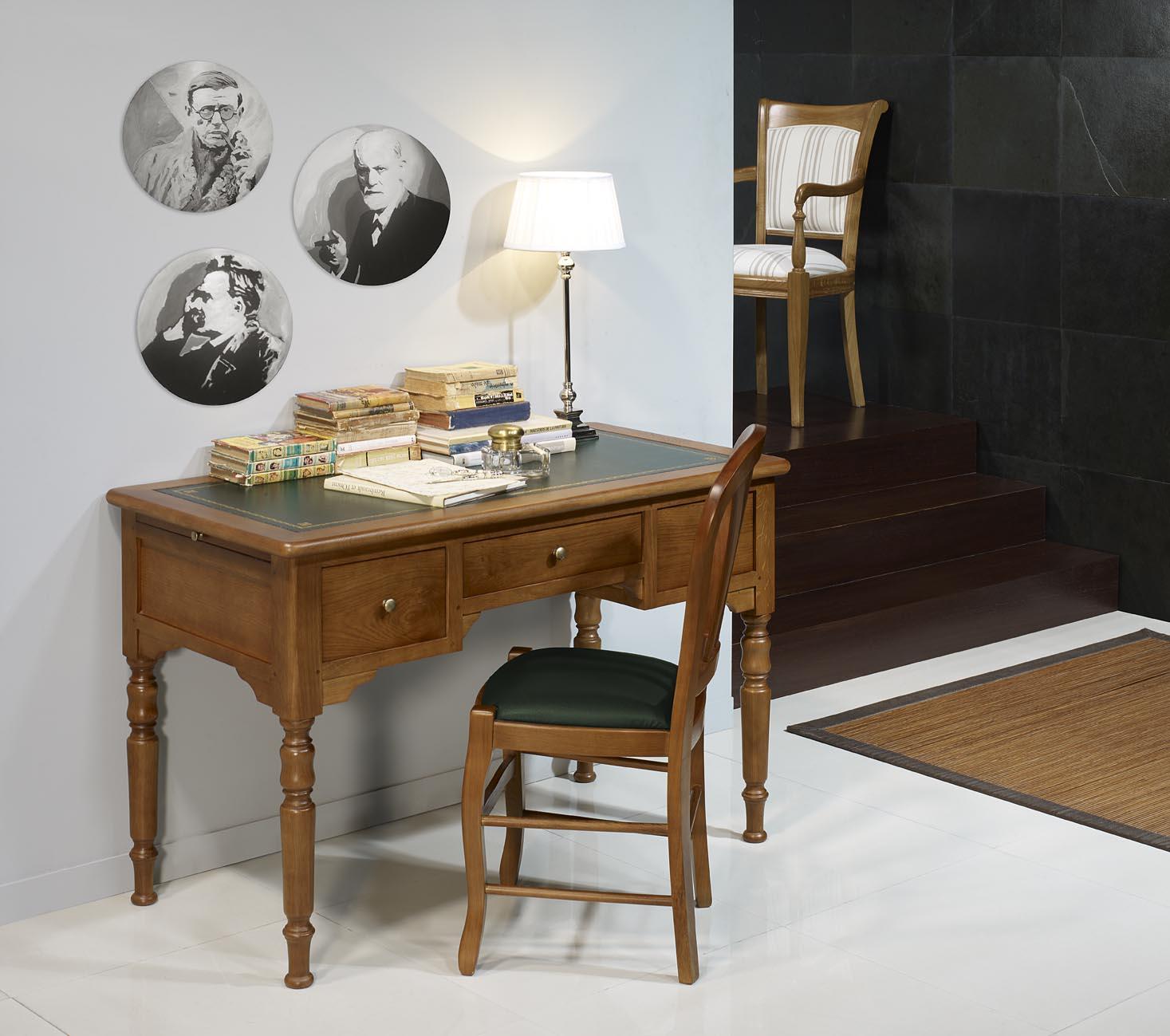 Pequeña mesa escritorio / oficina Tomás en roble macizo estilo Louis ...