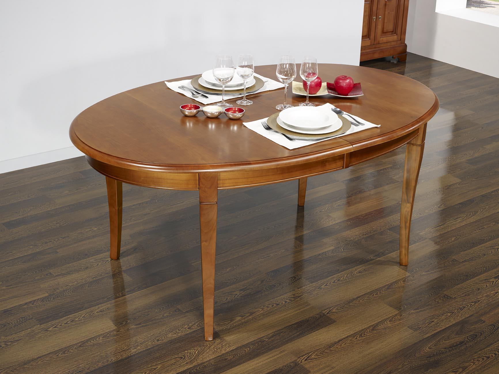 Pm136 mesa de comedor ovalada merche hecha en madera for Mesa comedor cerezo