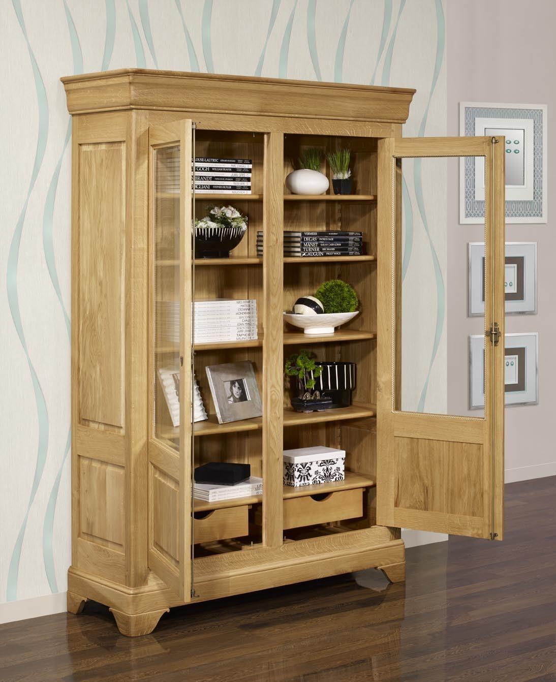 Biblioteca antoine 2 puertas de madera de roble macizo de for Estilos de puertas de madera