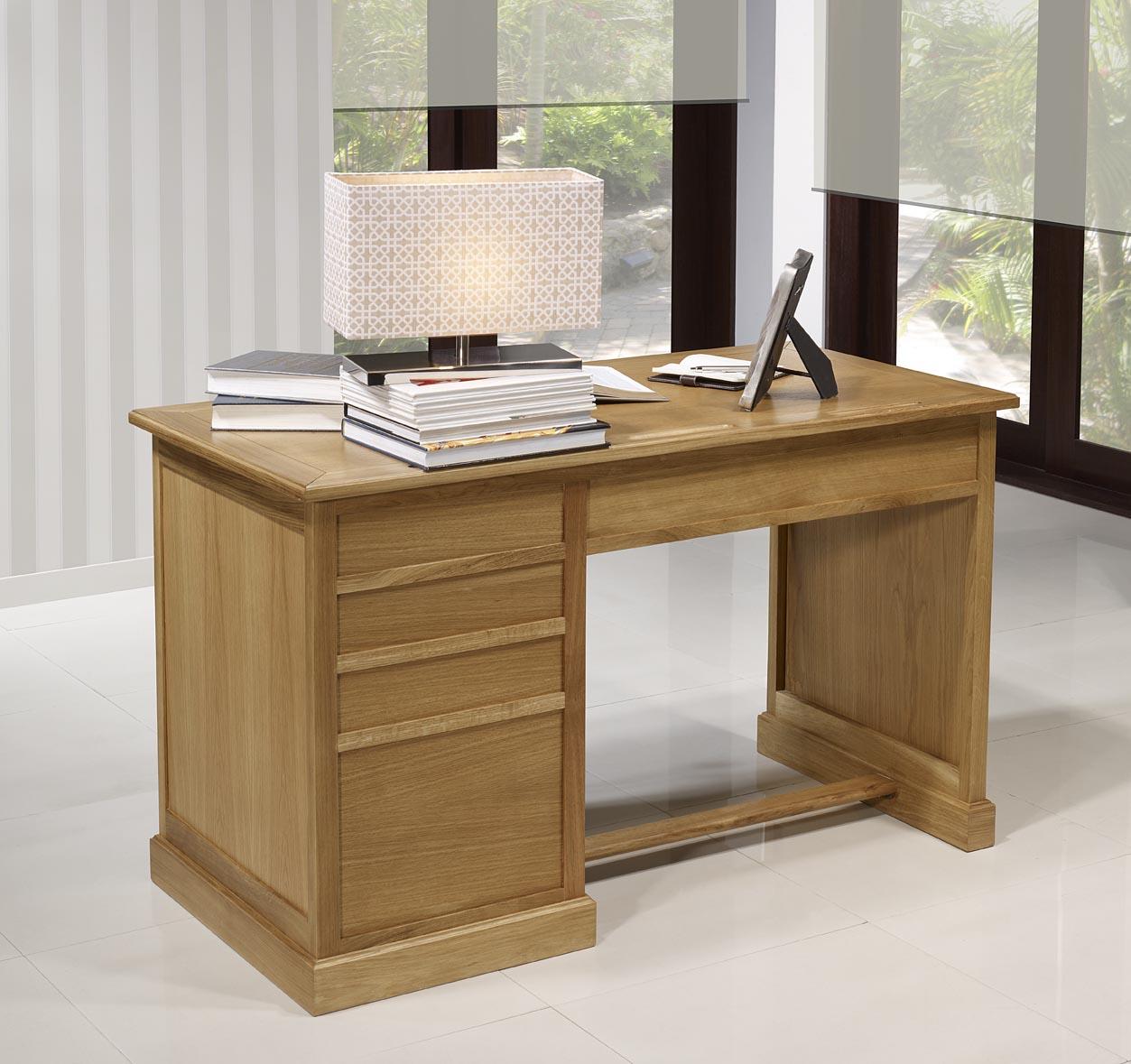 Mesa oficina escritorio con 5 cajones hecha de roble for Mesa escritorio con cajones