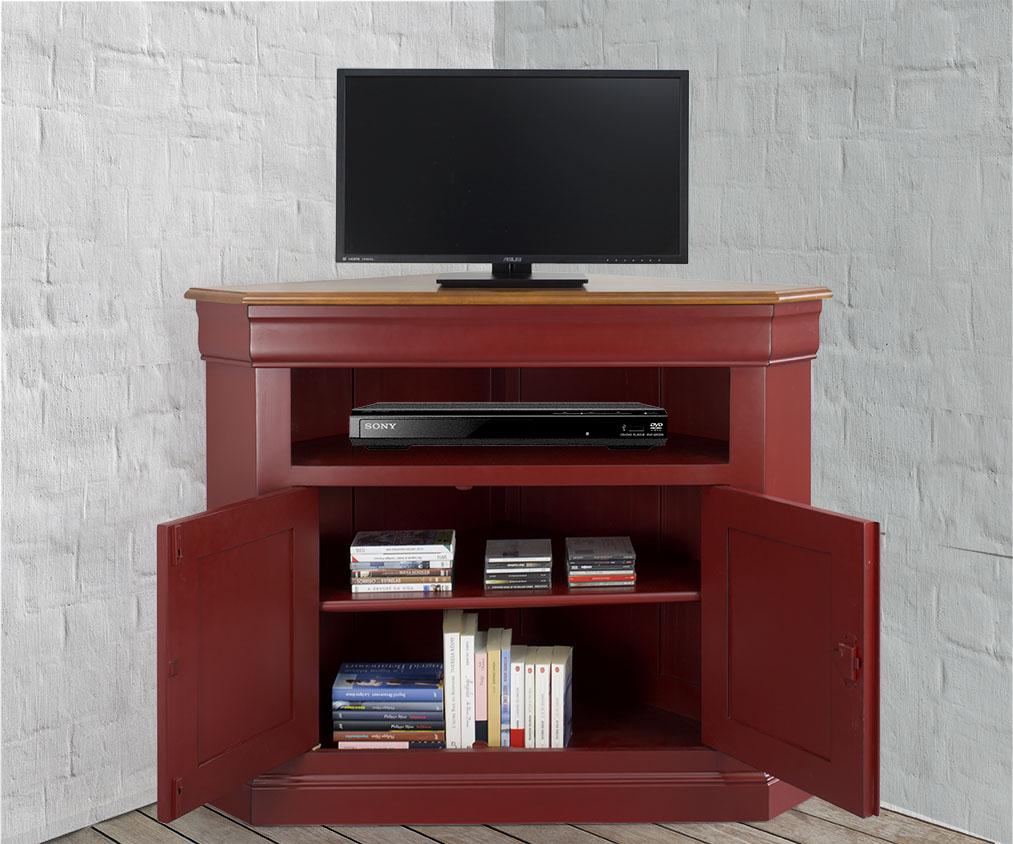 mueble de esquina de tv con puertas hecho en madera maciza de cerezo estilo louis