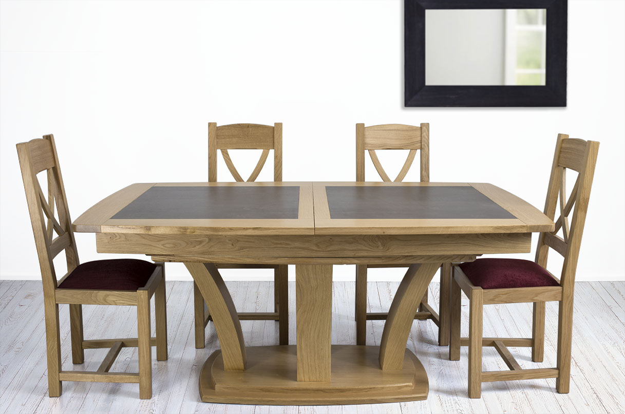 Mesa de comedor moderna de madera de roble maciza con acabado ...