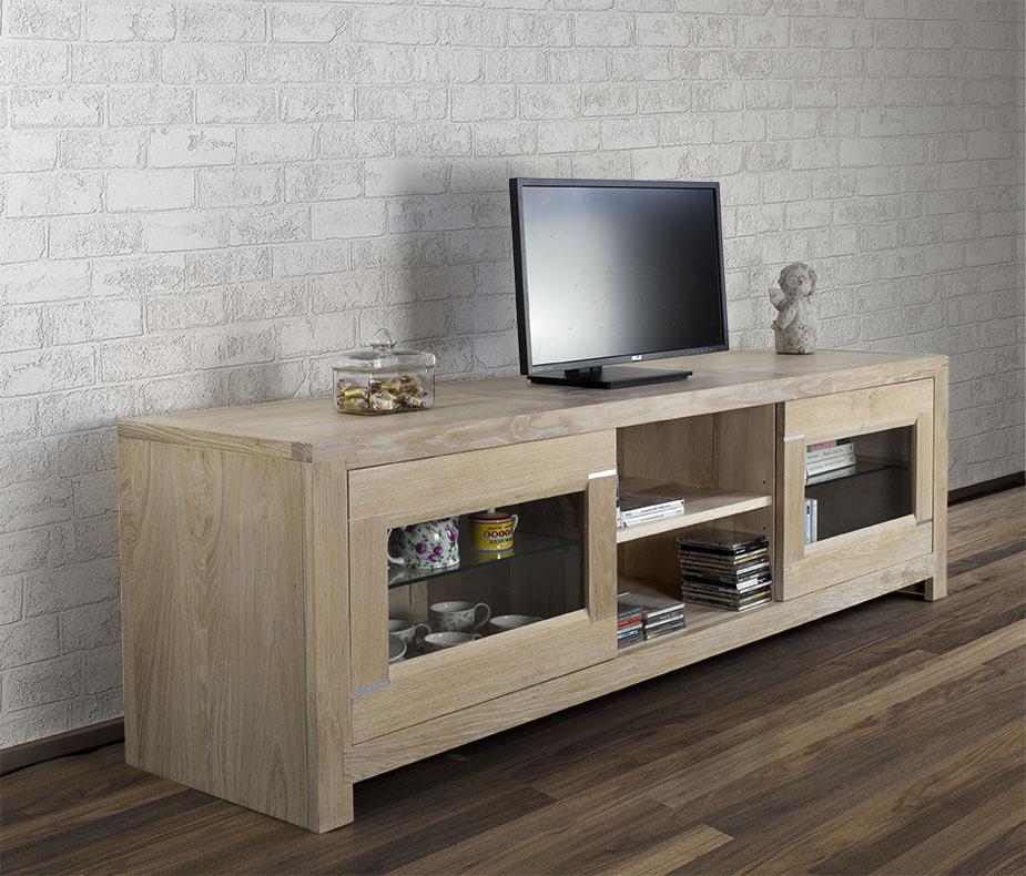 Mueble TV Lucas con 2 puertas hecho en roble macizo estilo ...
