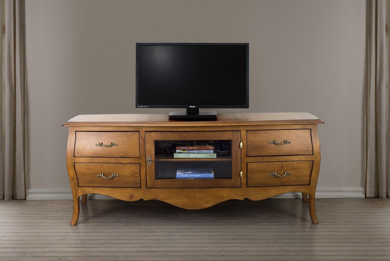 Muebles de tv adelia hecho de cerezo macizo de estilo luis - Muebles de nogal ...