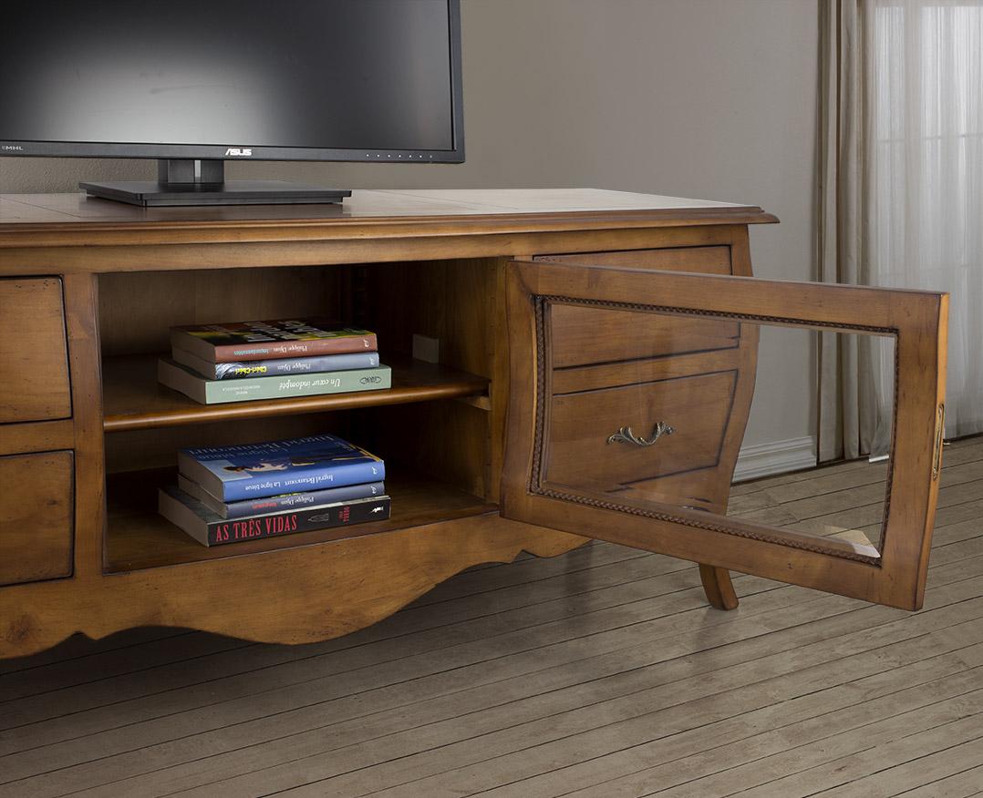 Muebles de tv adelia hecho de cerezo macizo de estilo luis for Muebles nogal yecla