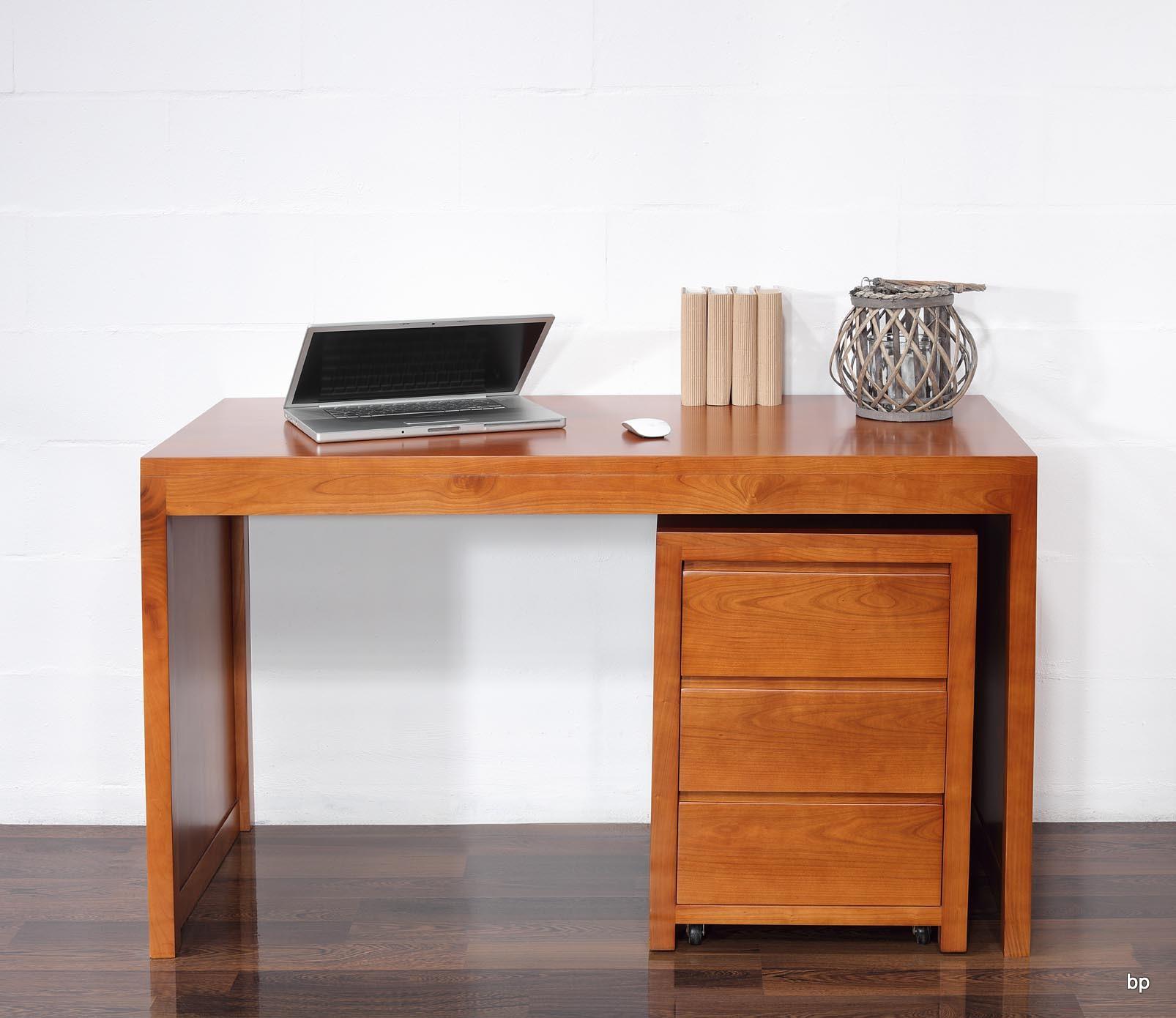 Mesa escritorio estilo contempor neo en madera cerezo macizo con modulo con ruedas de 3 cajones - Mesa escritorio madera ...