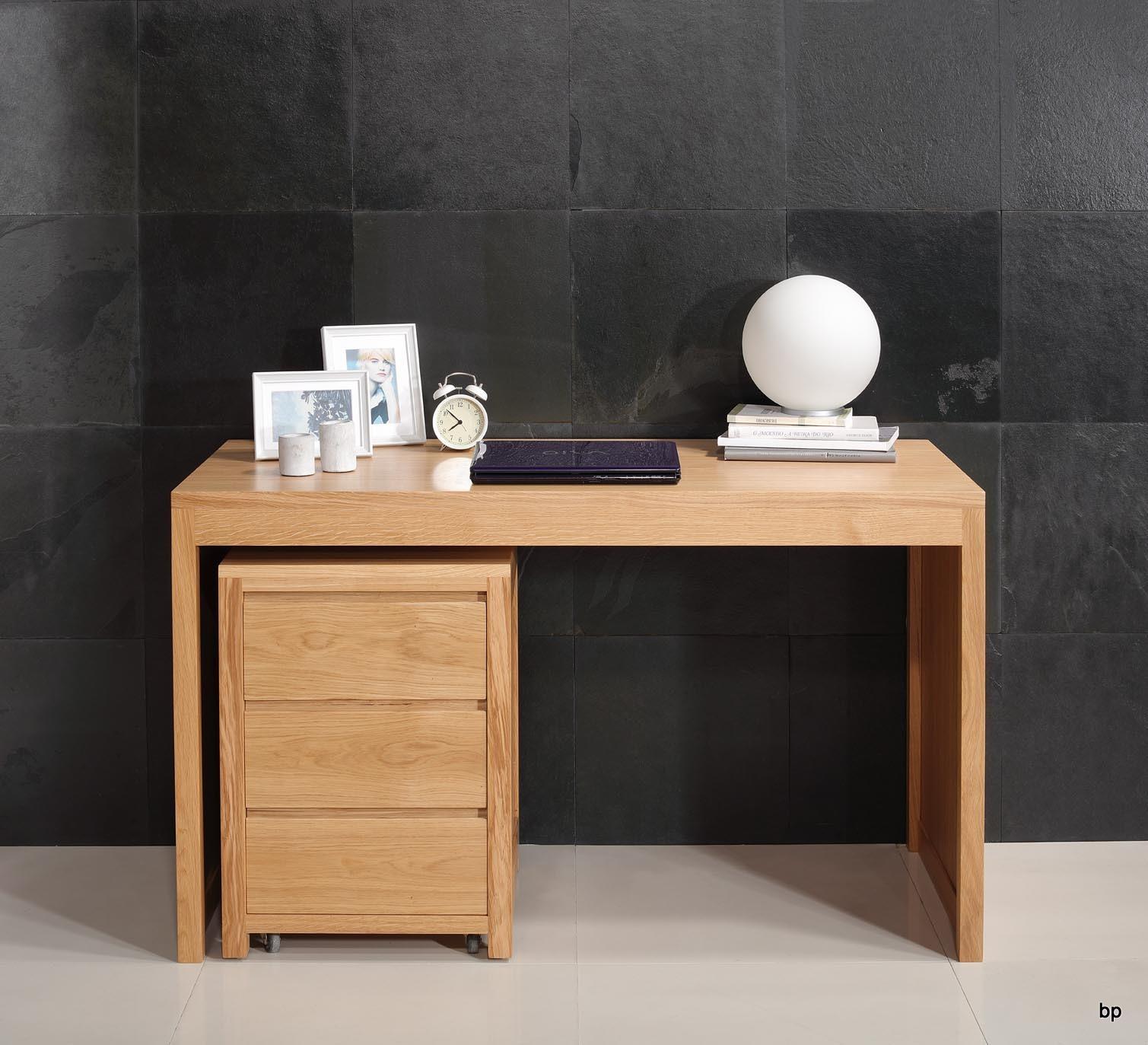Mesa escritorio estilo contempor neo en madera de roble macizo con modulo con ruedas de 3 - Mesas de escritorio de madera ...