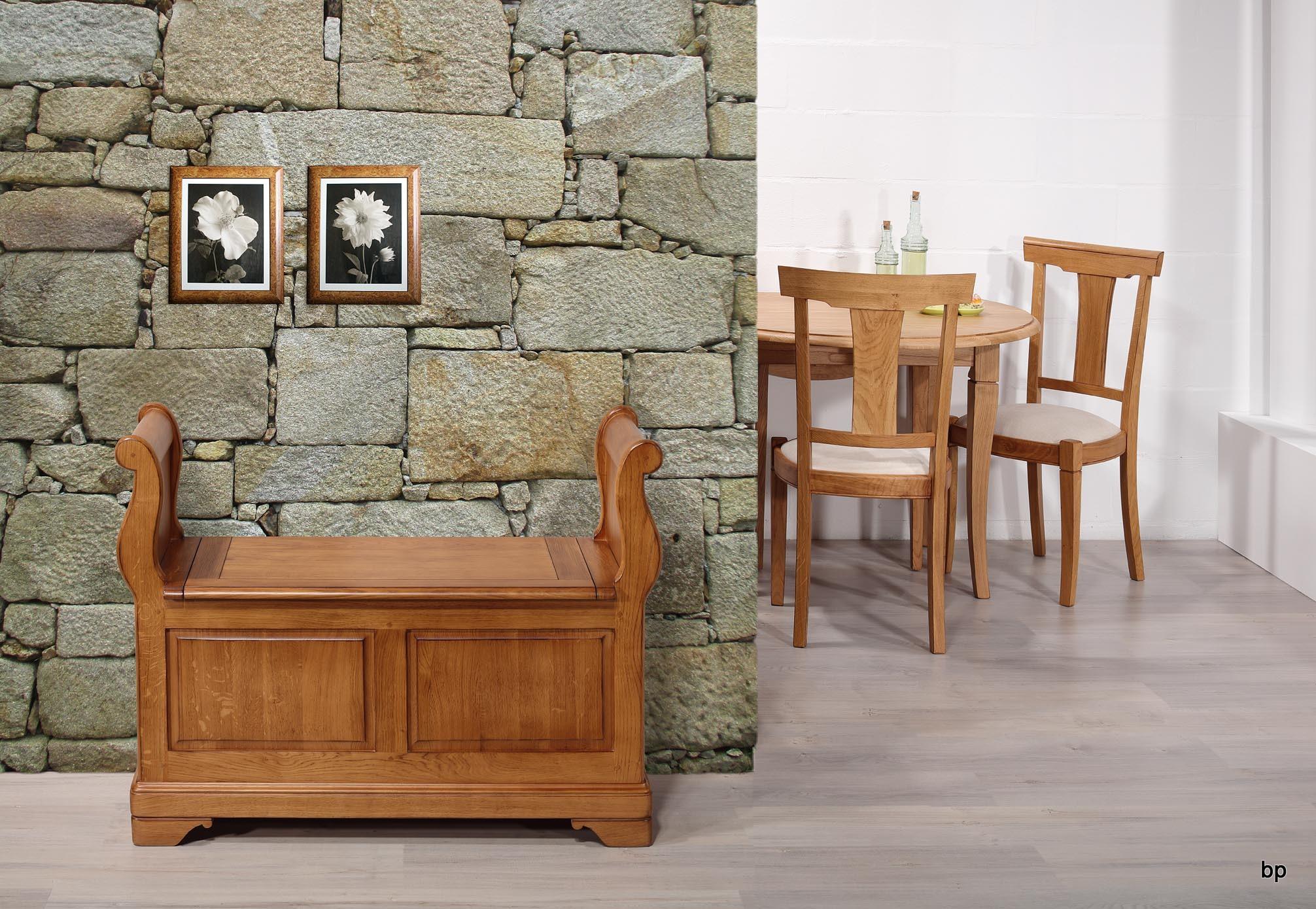 Banco arc n leo de roble macizo estilo louis philippe for Banco arcon madera