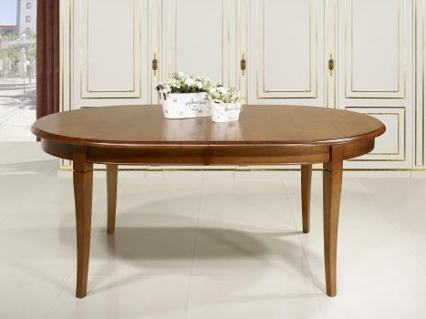 Mesa de granja ovalada tom hecha de roble macizo estilo for Mesa comedor ovalada