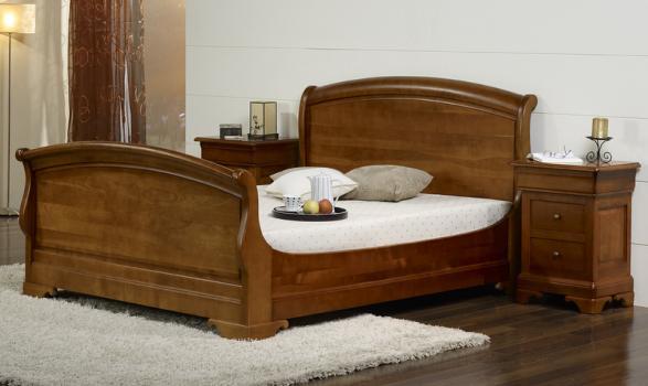 Cama emma 160x200 hecha en cerezo macizo estilo louis for Modele de chambre a coucher en bois massif