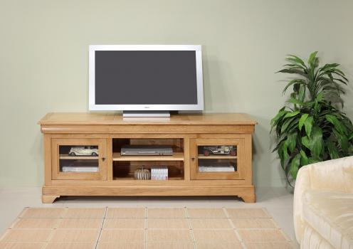 Mueble de TV 16/9 Mathilde fabricado en madera de roble macizo estilo Louis Philippe Longitud 180 cm'